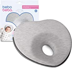 Newborn Baby Head Shaping Pillow | Memory Foam Cushion for Flat Head Syndrome Prevention | Prevent Plagiocephaly | Best Perfect for Baby Boy & Girl (Grey)