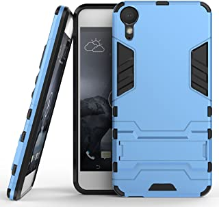 Case for HTC Desire 10 Lifestyle (5.5 inch) 2 in 1 Shockproof with Kickstand Feature Hybrid Dual Layer Armor Defender Protective Cover (Blue)