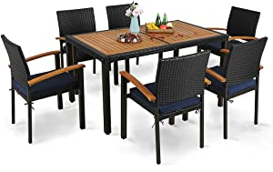 MFSTUDIO 7-Piece Patio Dining Set,Outdoor Rattan Wicker Furniture Set with Removable Cushions Include 1 Acacia Wood Slatted Table and 6 Stackable Chairs for Garden,Backyard,Deck