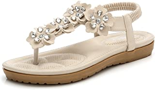 7d7417bc1f93d Wollanlily Women Bohemian Thong Sandal T-Strap Elastic Back Beach Flip  Flops Sandals