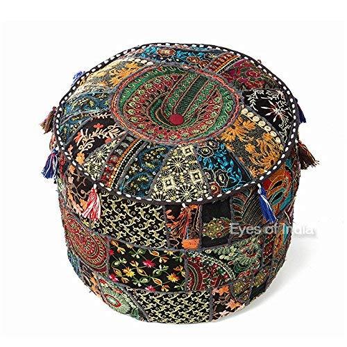 Eyes of India - de Colores Patchwork Puf Otomano Redondo Puf Cubierta Suelo Asiento Boho Bohemio Indio - Negro, 17 X 12 in. (43 X 30 cm)