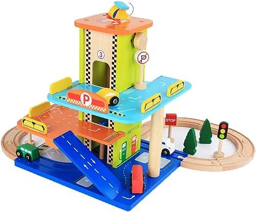 Persevebague Melody - Toy Voiture à Chenilles en Bois, Modèle De Jouet De Parking à Plusieurs étages, Ensemble De Wagons Assemblés