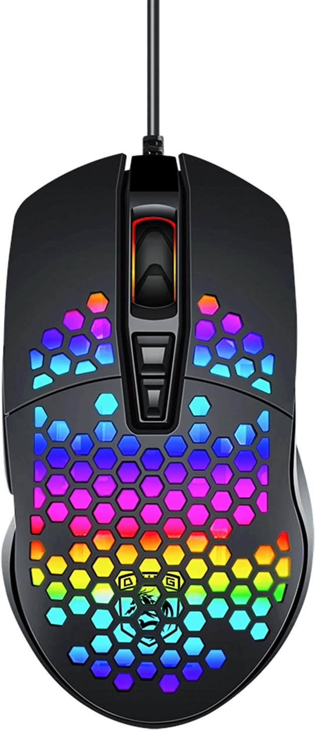 Lightweight Gaming Mouse Wired Honeycomb Hollow RGB Streamer Adjustable 6400 DPI Programming Mice Driver Optical Sensor 78G for PC X-Box PS4 Gamer (Black)