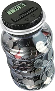 Thyggzjbs Digital Coin Bank Savings Jar- Automatic Coin Counter Totals All U.S. Coins Including Dollars and Half Dollars - Clear Jar with LCD Display