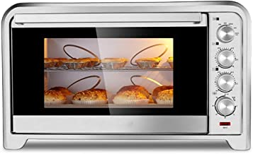 Extra ancho de convección encimera horno tostador, Incluye bandeja de hornear, asar rack y rack tostado, acero inoxidable