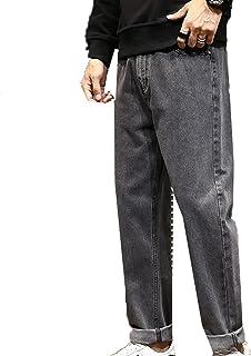 Generic11 Jeans da Uomo Comodi Pantaloni Dritti Primavera Estate Pantaloni Pantaloni Denim Pantaloni Larghi e Larghi Resis...