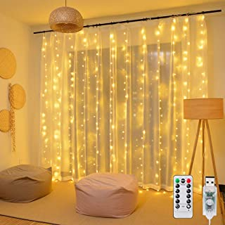 Ollny Curtain Lights 300 LED 9.8Ft9.8Ft Warm White Fairy Lights with 8 Modes and Remote USB Powered String Light Plug in for Wall Decoration and Girl Bedroom Children Indoor Outdoor Christmas Party