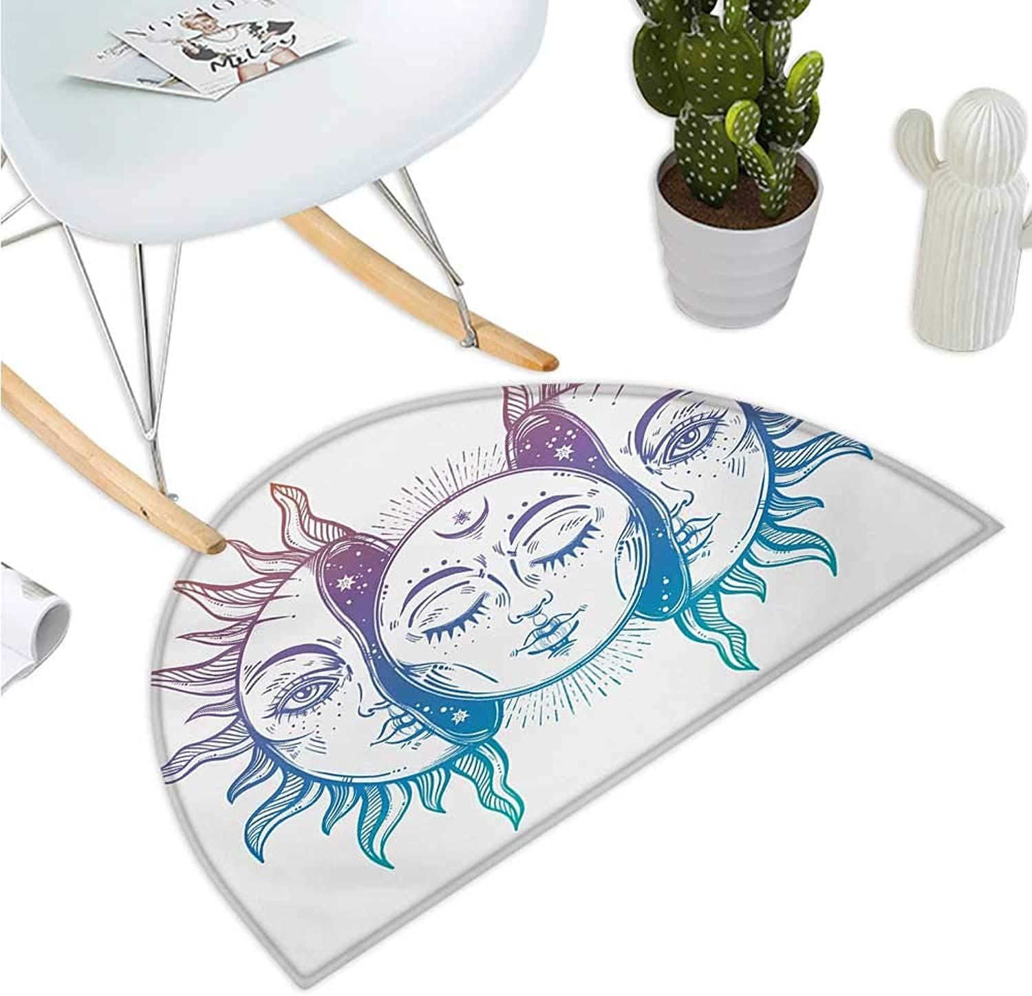 Moon Semicircle Doormat Psychedelic Representation Heavenly Bodies Faces Eastern Oriental Inspired Image Entry Door Mat H 35.4  xD 53.1  purplec bluee White