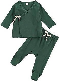 KMBANGI 2Pcs Newborn Infant Baby Girl Boy Cotton Pajamas Set Long Sleeve Kimono T-Shirt Top+Footies Pants Fall Winter Outfits