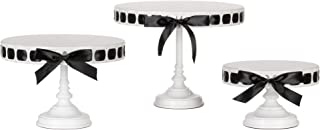 Amalfi Decor Ribbon Cake Stand Set of 3 Pack, Dessert Cupcake Pastry Candy Plate for Wedding Event Birthday Party, 15 Satin Ribbons Included, DIY Round Pedestal Tray Holder, White