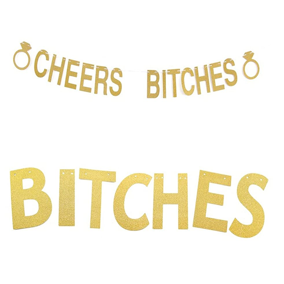 MAGQOO Glitter Golden CHEERS BITCHES Banner Bunting Signs for Bachelorette Hen Wedding Engagement Birthday Party Decoration Favors (Golden)