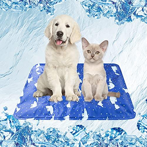 Mensu クールマット 夏用 ひんやりマット 小型ペット用品 シート 涼しい 犬猫 マット ペット用品 冷却シート 涼感冷感 シート 冷えマット 冷たいパッド 暑さ対策 柔らかい 防水 抗菌 防力ビ 40x50 熊柄ネイビー (VK Living)