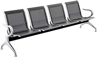 PrimeMatik - Bancada para sala de espera con sillas ergonómicas negras de 4 plazas