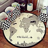 HILTOW World Map Rug Kids Area Rug Play Rug Baby Play Mat Round Area Rug Activity Round Rug Suitable for Kids Playroom (Thick,Diameter 53 inches)