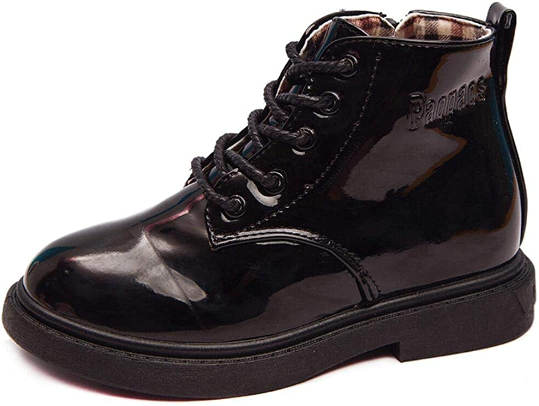 JGKDTX Boy's Girl's Waterproof Side Boots Ankle Austin Mall O Large special price !! Zipper Lace-Up