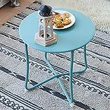 Mesa velador Mesa de café Mesa con Caja Redonda Mesa de Centro para Salón Mesa Auxiliar Azul