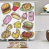 KISSENSU Badezimmer-Vorhang-Set,Bunter Cartoon der Junk-Food-Gekritzel-Burger-Steak-Pizza,Duschvorhang gedruckt wasserdichter Vorhang Badematte Fußmatte Wohnkultur,180 * 180CM Curtain