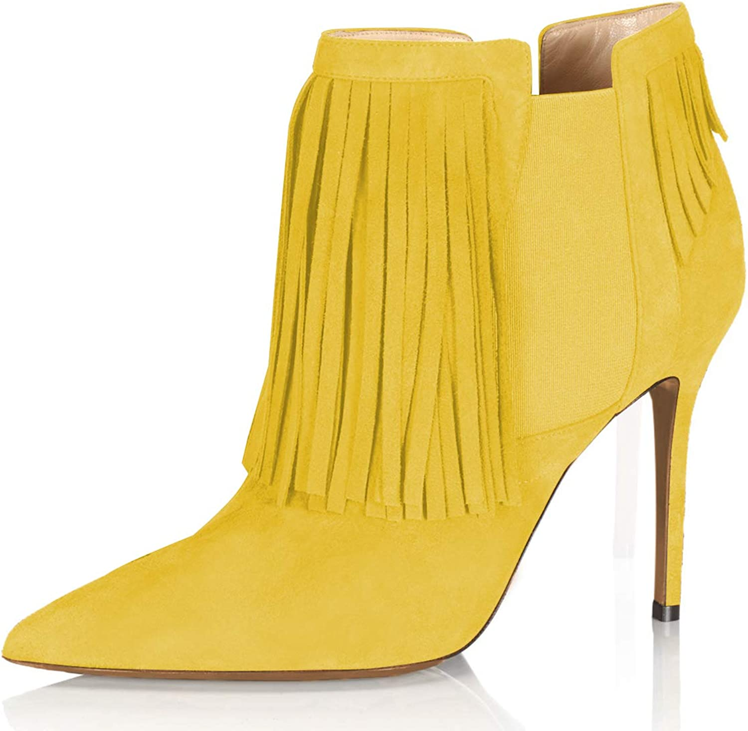 YDN Women Stiletto High Heel Tassels Ankle Boots Pointed Toe Elastic Pull On Suede Dress Bootie
