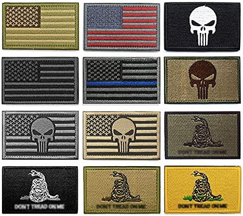WZT Bundle 12 Pieces American Flag Tactical Morale Military Patch Set