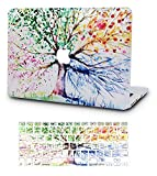 KECC Laptop Case for MacBook Air 13' w/Keyboard Cover Plastic Hard Shell Case A1466/A1369 2 in 1 Bundle (Four Season Tree)