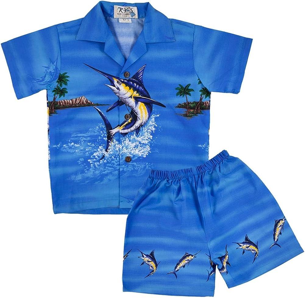 Swordfish Jumping Toddler Hawaiian Shirt & Shorts Set