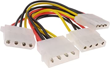kenable 3 Way 4 pin PSU Power Splitter Cable LP4 Molex 1 to 3 Lead 15cm (~6 inch)