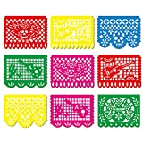 FUTUREPLUSX Mexican Papel Picado Banner, 9PCS Day of The Dead Decorations Plastic Mexican Fiesta Garland