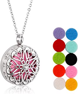 Diffuser Necklace, Aromatherapy Pendant Essential Oil Necklace Round Pendant Locket Stainless Steel Plating 3D Surface Necklace with 10 Felt Pads