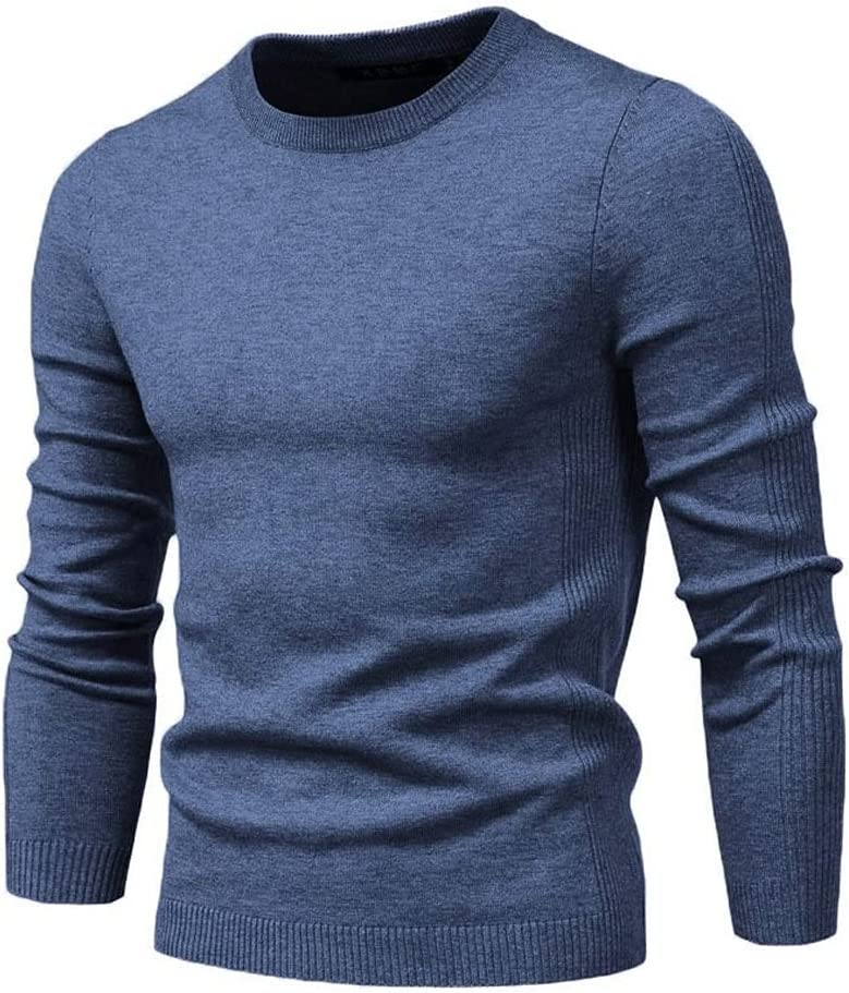 LYYQH O-Neck Pullover Men's Sweater Casual Solid Color Warm Sweater Men Winter Fashion Slim Mens Sweaters Red (Color : Denim Blue, Size : M Code)