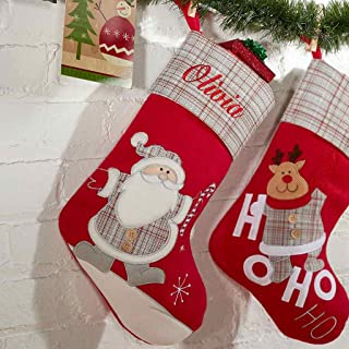 DIBSIES Personalization Station Personalized Classic Gray Plaid Christmas Stocking (Santa)
