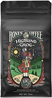 Bones Coffee Company Flavored Coffee Beans, Highland Grog Whole Bean Coffee for Cold Brew..