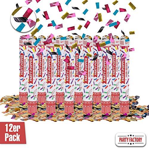 Party Factory 12er Set Party Popper, 40 cm, Buntes Konfetti, bis 8 m Effekthöhe, Konfettiregen für Hochzeit, Geburtstag oder Silvester