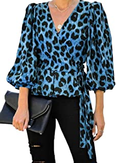 Womens Leopard Printed Long Sleeve V Neck Wrap Front Blouse Shirt