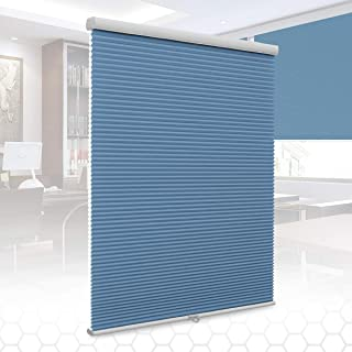 SUNFREE Cordless Cellular Shades Honeycomb Blinds Light Filtering Shades for Window and Door, Home and Office 27 x 64 inch Blue