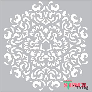 Museum Grade Ultra Thick Clear Color Material Stencil - The Flame Medallion Center Circle DIY Décor-XL (21