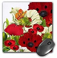 3drose LLC 8x 8x 0.25インチマウスパッド、赤/緑Poppies and Butterflies (MP 79438_ 1)