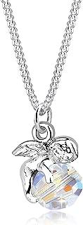 Elli Women's 925 Sterling Silver Xilion Cut Crystal Angel Pendant Necklace Length of 45 cm