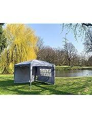 Defacto Vouwpaviljoen, 2 x 2 m, paviljoen, tuintent, inkt, 2 zijdelen, pop-up, opvouwbaar, 100% polyester, waterdichte draagtas, spantouwen & herring grijs