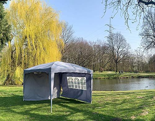 Defacto Faltpavillon 2x2m Pavillon Gartenzelt Ink 2-Seitenteile Popup-Faltbar 100% Polyester- Wasserdicht Tragetasche, Spanseile& Herring GRAU