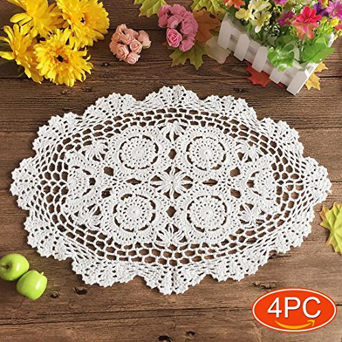 Elesa Miracle Handmade White Oval Crochet Cotton Lace Table Placemats Doilies Set, 4pc, Oval, White, 12 X 18 Inch