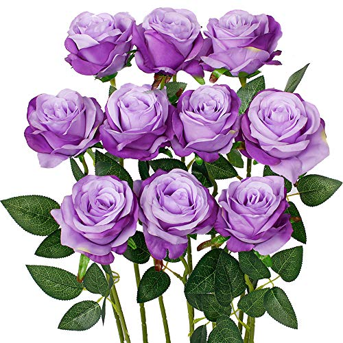 Luyue Artificial Silk Rose Flower Bouquet Wedding Party Home Decor, Pack of 10-Light Purple