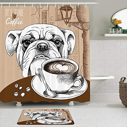 Stoff Duschvorhang & Matten Set,Brown Bulldog Cup Kaffee H& Tiere Old Cappuccino Wildlife Food Drink Restaurant Hot Bean Frühstück,Wasserdichte Badvorhänge mit 12 Haken,utschfeste Teppiche