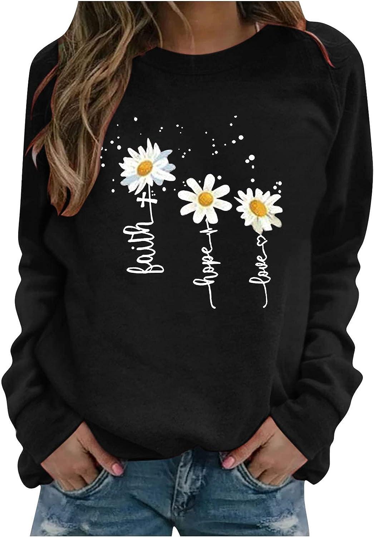 POTO Womens Long Sleeve Tops, Womens Crewneck Sweatshirts Daisy Printed Pullover Shirts Casual Tshirts Sweater Blouses