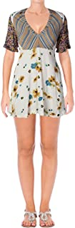 Free People Women's Mix It Up Floral Short Sleeve Printed Mini Dress in Ivory Combo