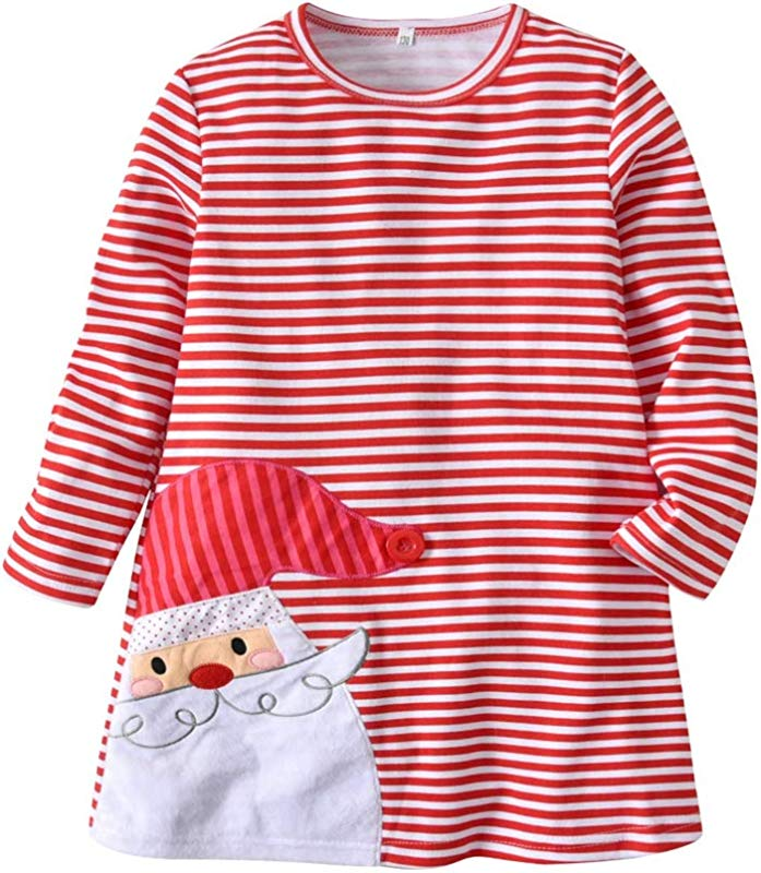 Toddler Little Girls Long Sleeve Dress X MAS Striped Outfit Christmas Pattern O Neck Casual Dresses Basic Shirt Tunic