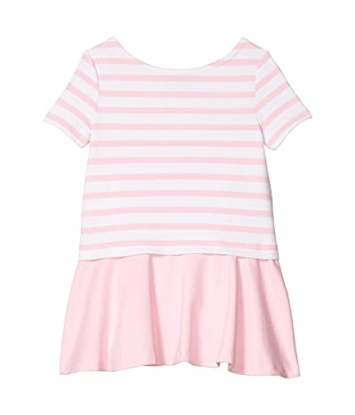 Polo Ralph Lauren Kids Striped Stretch Ponte Dress (Toddler) (White/Carmel Pink) Girl