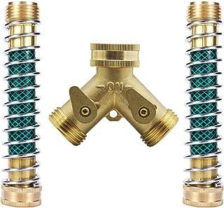 Hanobo Heavy Duty Brass 2 Way Garden Hose Connector with 2Pcs Garden Hose Coiled Spring Protector