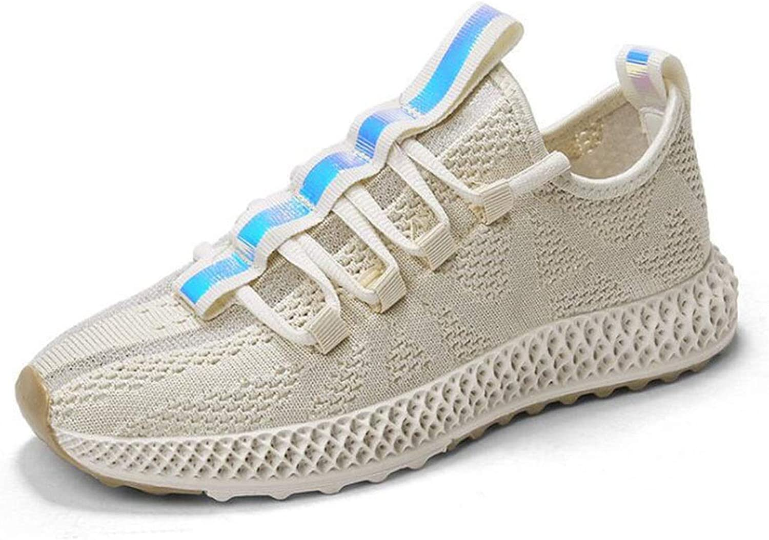 Women's Breathable Mesh Tennis Athletic shoes,Fashion Walking Sports Running shoes,Women Lightweight shoes (color   Beige, Size   36)