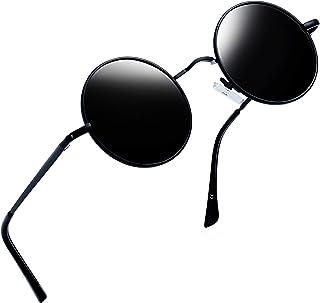 Joopin Lunette de Soleil Homme Ronde Polarisée Rétro Lennon Style Basique pour Voyage UV400