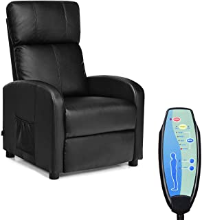 Giantex Massage Recliner Adjustable Chair Single Sofa, Padded Seat Cushion and Backrest, PU Leather, Remote Control, Home Theater Seating, Leisure Lounge Chaise, Living Room Furniture Recliner (Black)